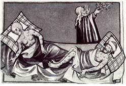 Grabado medieval en el que se pueden apreciar los bubones en los afectados por la terrible epidemia