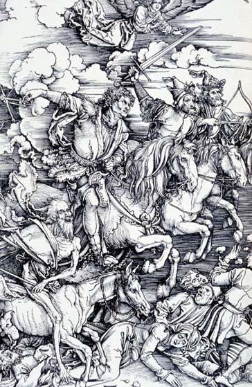 Los Cuatro Jinetes del Apocalipsis, grabado de Alberto Durero (1498)
